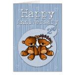 glückliche Jahrestagsbären - 2-jährig Karte