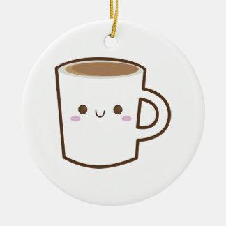 Glückliche Kaffeetasse Rundes Keramik Ornament