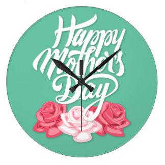 Glückliche Kalligraphie der Mutter Tagesmit Rosen Große Wanduhr