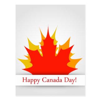 Glückliche Kanada-Tageskarte mit Ahorn-Blätter Postkarte