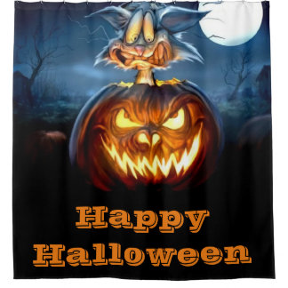 Glückliche Katze Halloweens Scaredy Duschvorhang