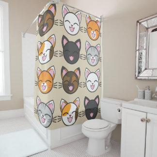 Glückliche Katzen Duschvorhang