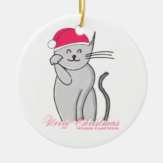 Glückliche Katzen-frohe Weihnachten u. viel des Keramik Ornament