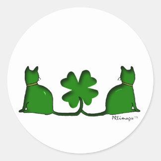 Glückliche Katzen Runder Aufkleber