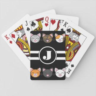 Glückliche Katzen w/Monogram Spielkarten