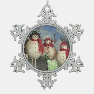 Glückliche Käufer Schneeflocken Zinn-Ornament