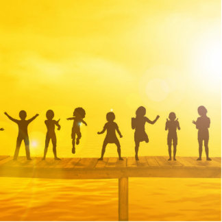 Glückliche Kinder und Freundschaft im Schulkonzept Fotoskulptur Button