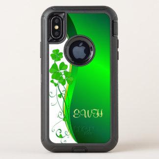 Glückliche KleeblattgoldImitat-Glitterwelle OtterBox Defender iPhone X Hülle