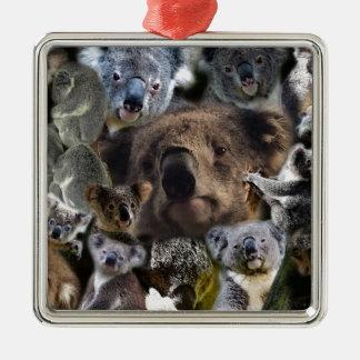 Glückliche Koala Quadratisches Silberfarbenes Ornament