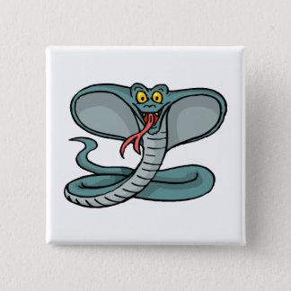 Glückliche Kobra Quadratischer Button 5,1 Cm
