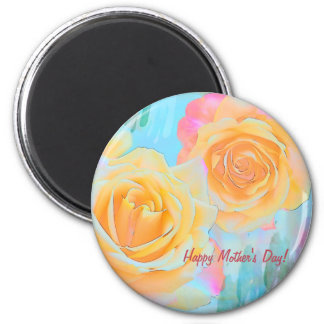 Glückliche künstlerische Rosen der Mutter Tagesu. Runder Magnet 5,7 Cm