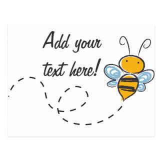 Glückliche lächelnde lustige Biene Postkarte