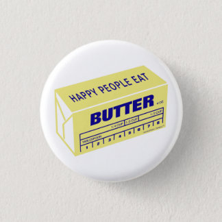 Glückliche Leute essen die Butter (blau) Runder Button 3,2 Cm