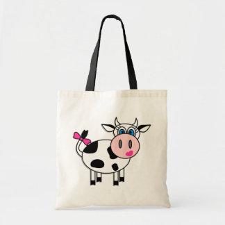Glückliche Mädchen-Kuh Budget Stoffbeutel