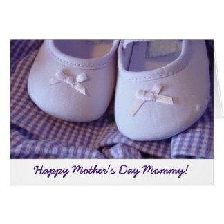 Glückliche Mama der Mutter Tages Karten Babyschuh