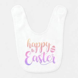 Glückliche mehrfarbige Osterei-Typografie Ostern Babylätzchen