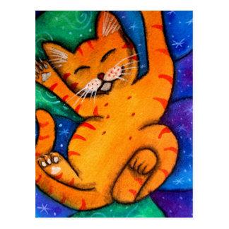 Glückliche Miezekatze-Katze Postkarte