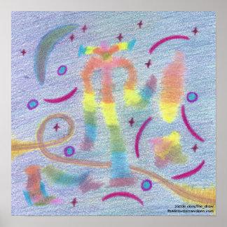 Glückliche Nächte unter dem Mond-Plakat Poster