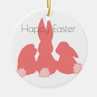 Glückliche niedliche Häschen Ostern | Keramik Ornament
