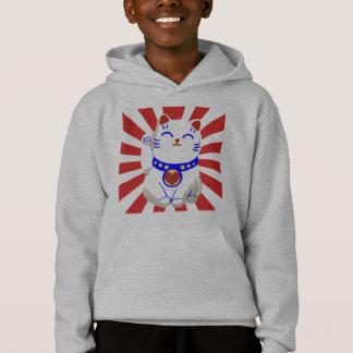 Glückliche niedliche neko Katze auf steigender Hoodie