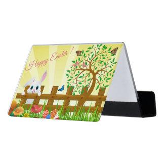 Glückliche Osterhasenillustration Schreibtisch-Visitenkartenhalter
