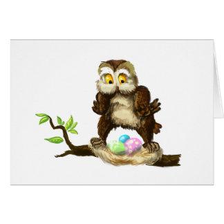 Glückliche Ostern-Eule Grußkarte