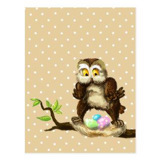 Glückliche Ostern-Eule Postkarte