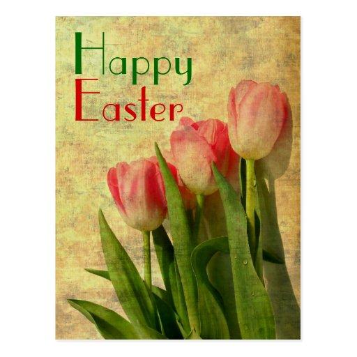 Glückliche Ostern-Frühlings-Tulpen Postkarte