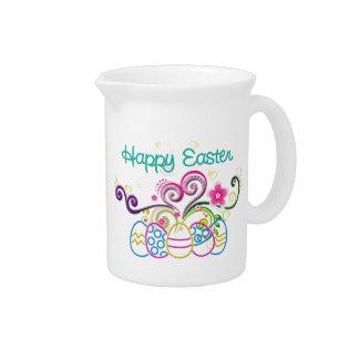 Glückliche Ostern-Glitzer-Eier u. mit Blumen Krug