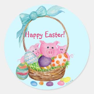 Glückliche Ostern-Schweine, Eier in den Runder Aufkleber