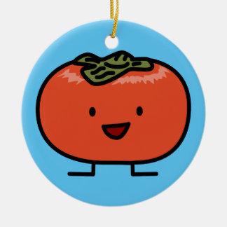 Glückliche Persimone-Paar-Persimone-Bonbon-Frucht Keramik Ornament