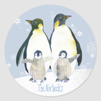 Glückliche Pinguin-Familien-Feiertags-Grüße Runder Aufkleber