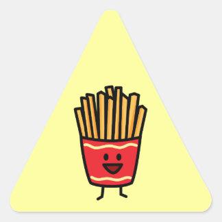 Glückliche Pommes-Frites Dreieckiger Aufkleber