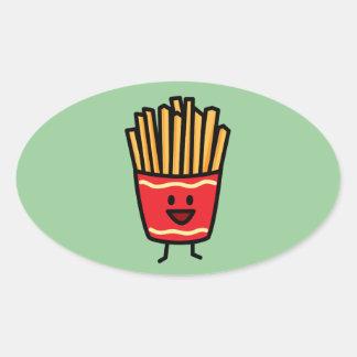 Glückliche Pommes-Frites Ovaler Aufkleber