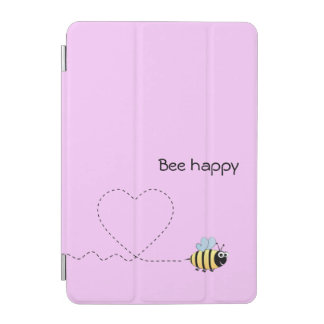 Glückliche positive Biene im Liebe-Cartoonrosa iPad Mini Hülle