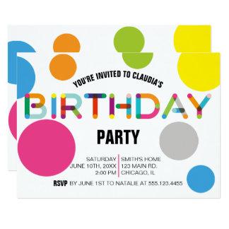Happy Dots Birthday Party Invitation