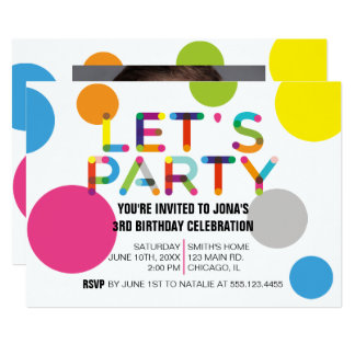 Happy Dots Birthday Party Photo Invitation