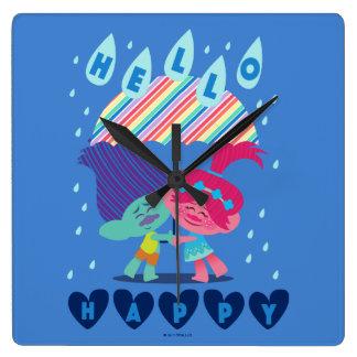Glückliche Regen-Tropfen der Schleppangel-| Quadratische Wanduhr