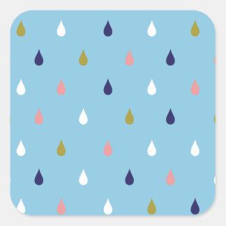 Glückliche Regentropfen Quadratischer Aufkleber