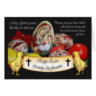 Glückliche religiöse Karte Ostern mit Küken und