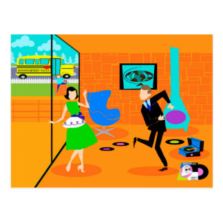 Glückliche Retro Eltern-Postkarte Postkarte