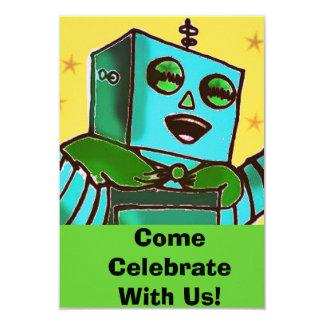 Glückliche Roboter-Comic-Art-Feier-Einladung 8,9 X 12,7 Cm Einladungskarte