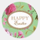 Glückliche rosa Blumen Ostern Runder Aufkleber