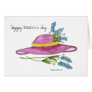 Glückliche Rosa-Hutgrußkarte der Mutter Tages Karte