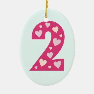 Glückliche rosa Oval-Geburtstags-Verzierung der Keramik Ornament