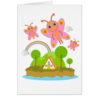 Glückliche rosa Schmetterlinge Karte