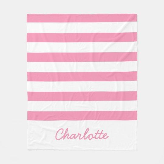 Glückliche rosa und weiße Streifen personalisiert Fleecedecke