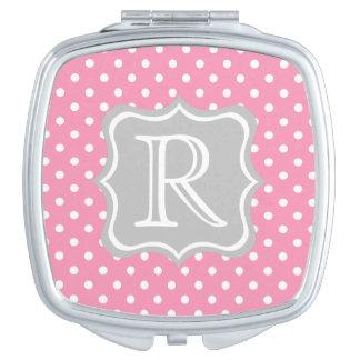 Glückliche rosa und weiße Tupfen mit Aschen-Grau Taschenspiegel