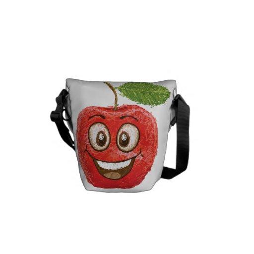 glückliche rote Apfelfrucht Kurier Tasche