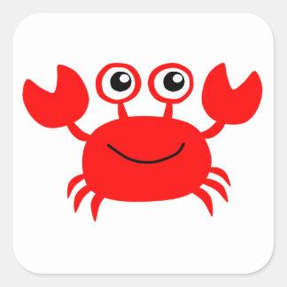 Glückliche rote Cartoon-Krabbe Quadratischer Aufkleber